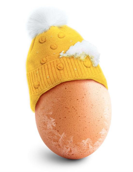 uovo con cappello di lana e neve: in Italia è consigliabile effettuare la crioconservazione degli ovociti tra i 20 e i 30 anni