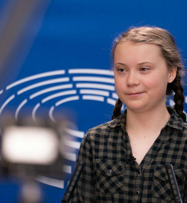 Greta Thunberg, la ragazza leader di Friday for future, durante uno speech