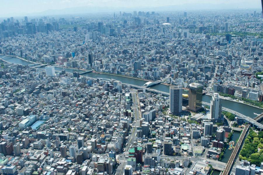 La città di Tokyo vista dall'alto