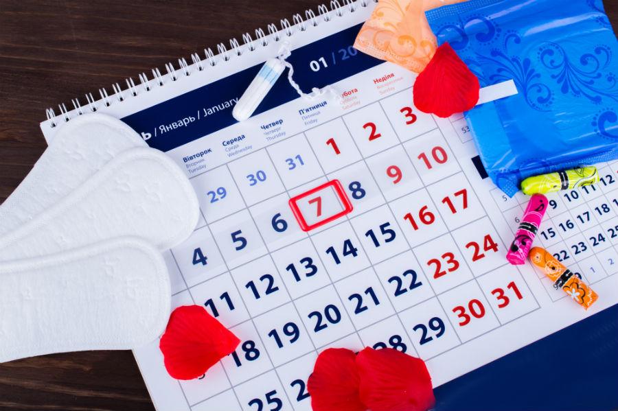 calendario per calcolare il ciclo mestruale e assorbenti di diverso tipo