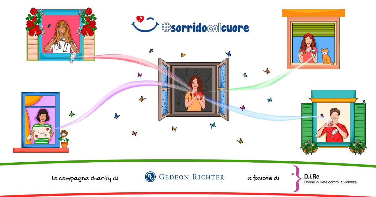 banner illustrato della campagna #SORRIDOCOLCUORE a cura di Gedeon Richter Italia