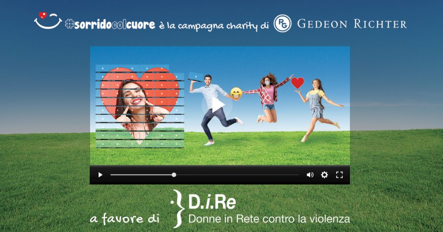 banner fotografico della campagna #SORRIDOCOLCUORE a cura di Gedeon Richter Italia