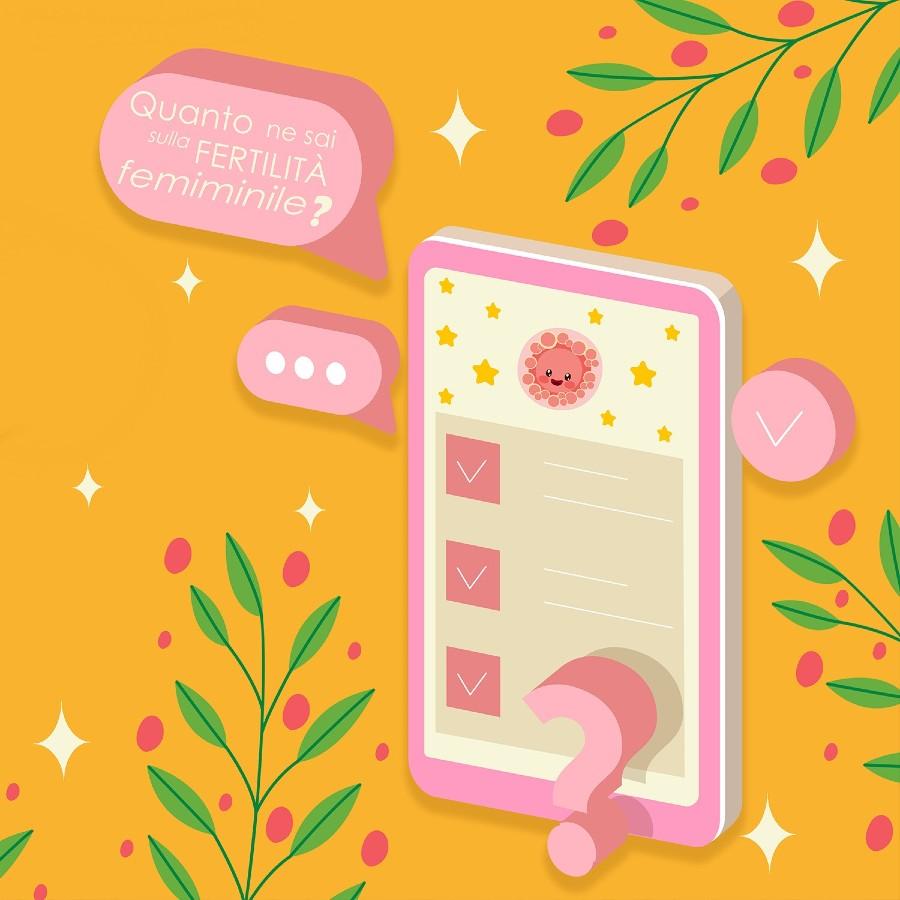 Questionario sulla fertilità femminile - illustrazione rappresentante uno smartphone con domande e ovocita.