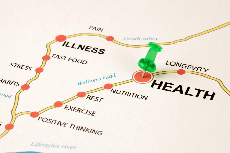 Informazioni sulla salute: percorso health, concept