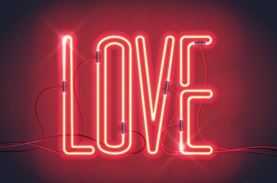 Regali di coppia per San Valentino: neon con scritta Love